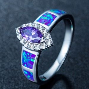 925 Marquise Cut Purple and Blue Fire Opal Ring